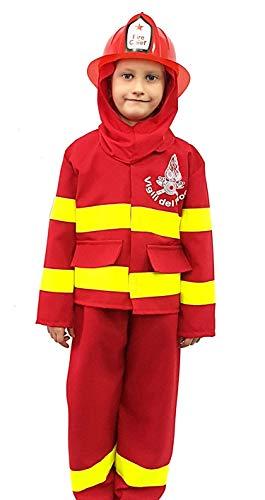 Piccoli monelli costume pompiere bambino 9 anni vestito vigile del fuoco di carnevale
