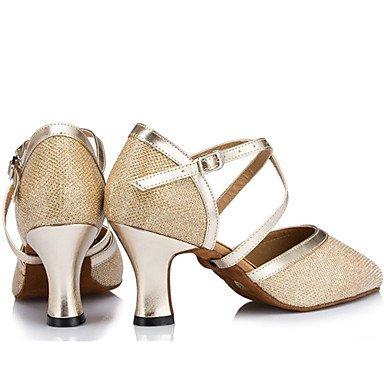 XIAMUO Anpassbare Damen Tanz Schuhe Satin Satin Modern Heels Stiletto Heel Indoor Schwarz/Elfenbein/Silber/Gold Silber
