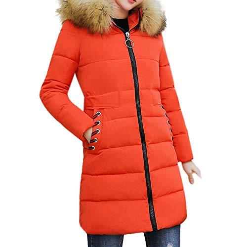 Longzjhd Damen Mittlerer langer Verdicken Baumwollkleidung Schmale Passform Großer Pelzkragen Warm halten Frauen Mantel Baumwolle nach unten Outwear 2018 Warm Parka Winterjacke