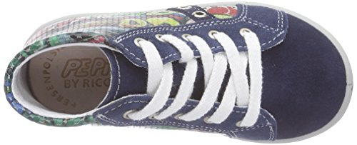 Ricosta  York, Baskets hautes mixte enfant Bleu - Blau (nautic/rosso 166)