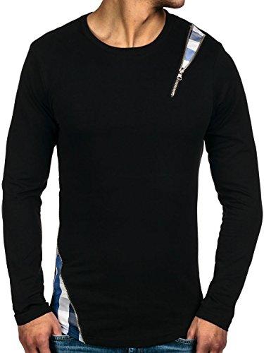 BOLF Herrenpullover ohne Kapuze Motiv Athletic 0754 Schwarz-Blau S [1A1] |