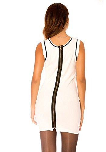 dmarkevous - Robe blanche courte moulante sans manche avec zip au dos Blanc