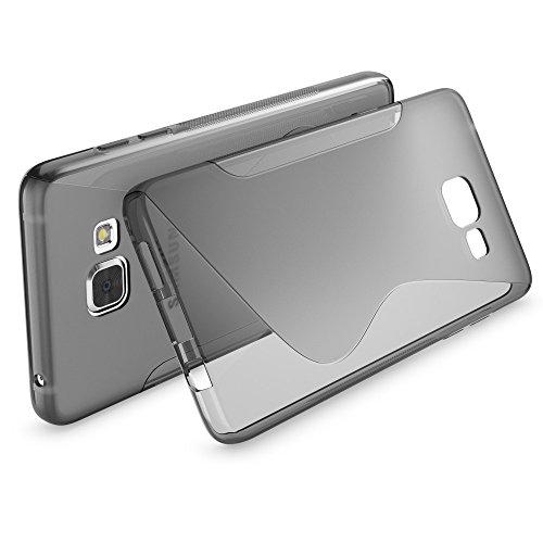 Samsung Galaxy A5 2016 Hülle Handyhülle von NICA, Ultra-Slim Silikon Case, Dünne Crystal Schutzhülle, Etui Handy-Tasche Back-Cover Bumper, TPU Gummihülle für Samsung-A5 16 Phone - Matt Schwarz S-Line Grau