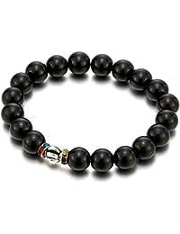 Perla Pulsera de 10MM Negro Ónix con Colores Zirconio Encantado Bola, Brazalete de Hombre Mujer