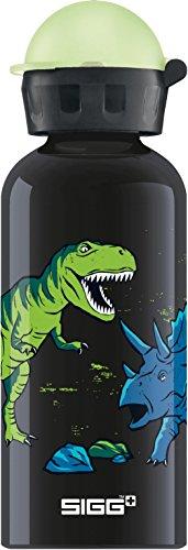 Sigg Jungen Trinkflasche Glow in The Dark Dinosaurs, Schwarz/Bunt/Glow, 400 ml, 8489.6