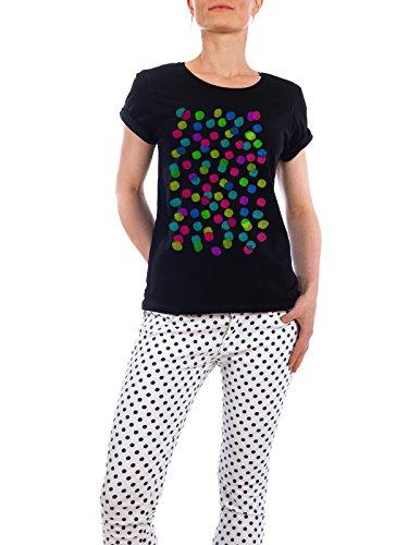 """Design T-Shirt Frauen Earth Positive """"colorful dots II"""" - stylisches Shirt Abstrakt von Mia Nissen Schwarz"""