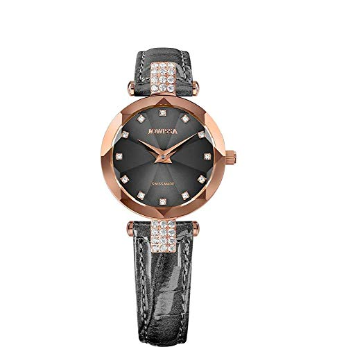 Jowissa Facet Strass Swiss J5.627.S - Reloj de Pulsera para Mujer, Color Gris y Rosa