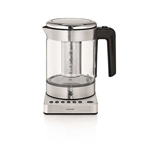 WMF KÜCHENminis 2-in-1 Vario Wasserkocher und Teekocher Glas , 1 l, 1900 W, Temperatur einstellbar, mit Teebeutelhalter und Sieb
