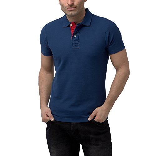 Charles Wilson Contrast Placket Polo Shirt (X-Large, Navy)