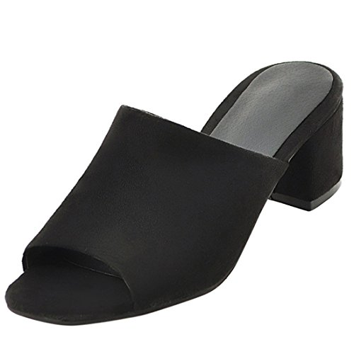 Artfaerie Damen Open Toe Slingback Sandalen Slipper mit Blockabsatz Bequem Pantoletten Nubuk Mules Offene Loafers Schuhe Open Toe