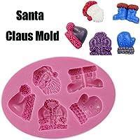 Vovotrade 3D Silikon Backform Weihnachten für Kuchen-Fondant Dekorieren Silikon Modellierung Weichen Kuchen Keks Plunger Santa Claus Schimmel Backen