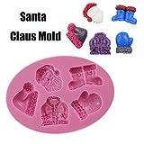 Vovotrade 3D Silikon Backform Weihnachten für Kuchen-Fondant Dekorieren Silikon Modellierung Weichen Kuchen Keks Plunger Santa Claus Schimmel Backen (Rosa)