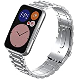 Dado Replacement Stainless steel Band compatible with Huawei Fit Watch, 3 beads stainless steel strap (Silver)