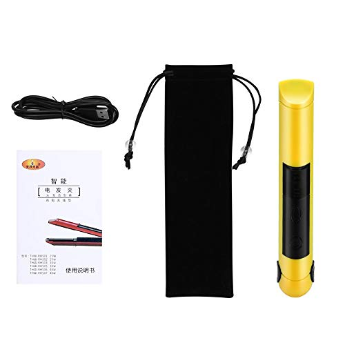 E-CHENG Ceramic Hair Straightener, 2In1 Hair Curling Straightening Iron Portable Travel Cordless Rechargeable Wide Plates Flat Irons Instant Heat Styling Tool(Yellow) (Hair Travel Curling Iron)