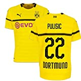 2018-19 Borussia Dortmund Home UCL Football Soccer T-Shirt Trikot (Christian Pulisic 22)