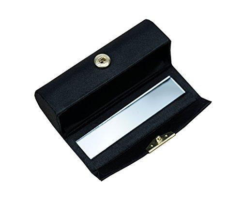 Fantasia Porte Rouge à lèvres Fermeture à pression Noir avec miroir L 8,7 cm x H 3 cm