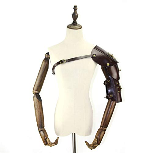 Cvthfyky Herren Steampunk Retro Leder Rüstung mit Schulter Armors Schnallen Kostüm Dress-up Halloween Cosplay Requisiten (Color : ()