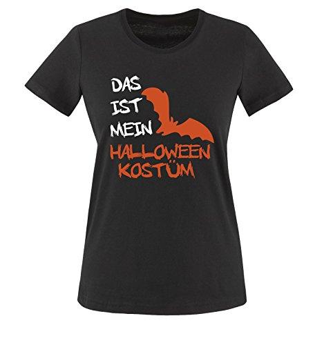 Comedy Shirts - DAS IST MEIN HALLOWEEN KOSTÜM VAMPIR - Damen T-Shirt Schwarz / Weiss-Orange Gr. (Halloween Kostüme Jungs College)
