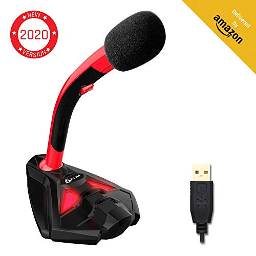 KLIM Voice Desktop USB Mikrofonstand für Laptop Computer - Gaming Mic - Mikrofon PC PS4 Rot [ Neue 2019 Version ]