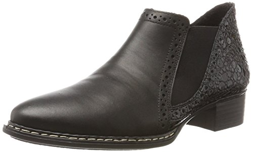 Rieker Damen 53652 Chelsea Boots, Schwarz (Nero/Granit), 40 EU