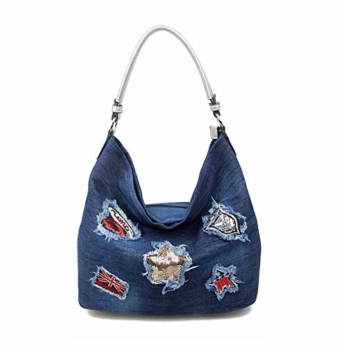OBC design italiano XXL donna Stella Borsetta Tela Cotone In strass Oro-argento Bowling Borsa marsupio Hobo-Bag Manico Shopper CrossOver - BLU 48x30x17 cm, ca 48x30x17 cm ( BxHxT ) argento blu scuro V1