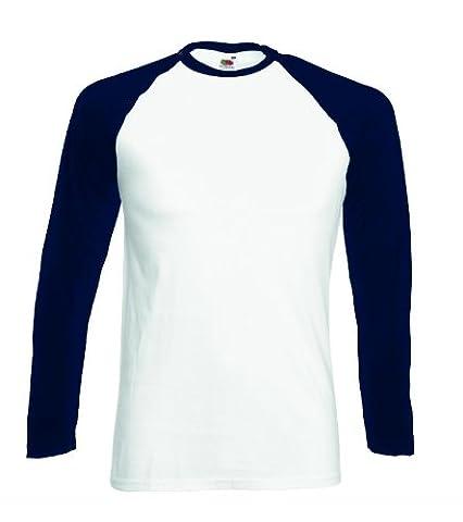 Mens Fruit Of The Loom Long Sleeve Baseball T-Shirt WHITE