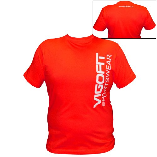 Vigofit T-Shirt in different Colors, Size S, M, L, XL 100% Coton, with Print Sportswear Logo Rouge/Blanc