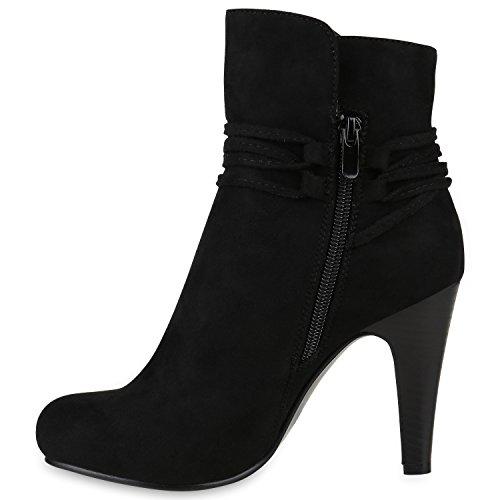 Klassische Damen Stiefeletten High Heels Stilettos Schleifen Schwarz