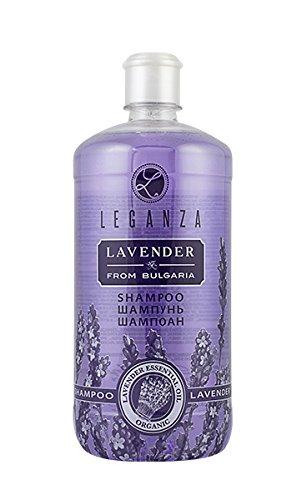Shampooing à l'huile Essentielle de Lavande Bio, de Leganza pour Cheveux Gras ou Cuir Chevelu Sensible 1000 ml Sans Parabens Sans Silicone