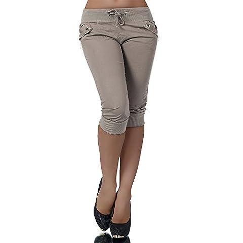 H967 Damen Chino Harem Hose Stoffhose Capri Bermuda Sommerhose Boyfriend Shorts, Farben:Coffee;Größen:42 (XL)