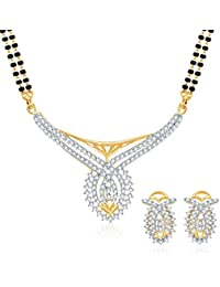 Sukkhi Classic CZ Gold And Rhodium Plated Mangalsutra Set For Women