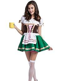 Deutsche Bier Oktoberfest Maiden Kellnerin Wench Halloween Kostüm Gr. XL, Schwarz - Schwarz