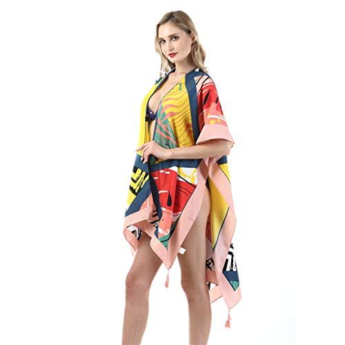 QIMANZI Strand Handtuch Damen Twill Baumwolle Sommer Badebekleidung Kimono Strickjacke Beiläufig Lose Öffnen Schal(B3) -