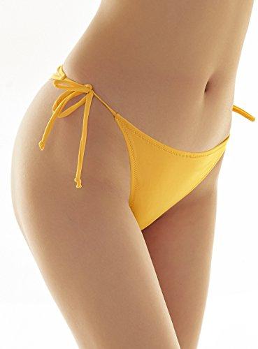 SHEKINI Sexy costumi da bagno Donna perizoma brasiliano Vita Bassa Costume Perizoma Tanga Culotte slip Bikini donna Bottom Piega Mare e Piscina Giallo