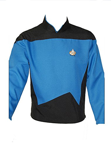 Tng Uniform Kostüm (Star Trek TNG Blau Uniform Cosplay Kostüm Herren)