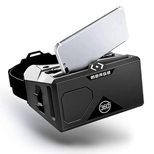 MERGE AR/VR Lunettes (EU Edition) - Casque de réalité virtuelle et augmentée pour Android et iPhone - Boutons à Double entrée, objectifs Ajustables, Mousse Durable, Kids Ages 10+