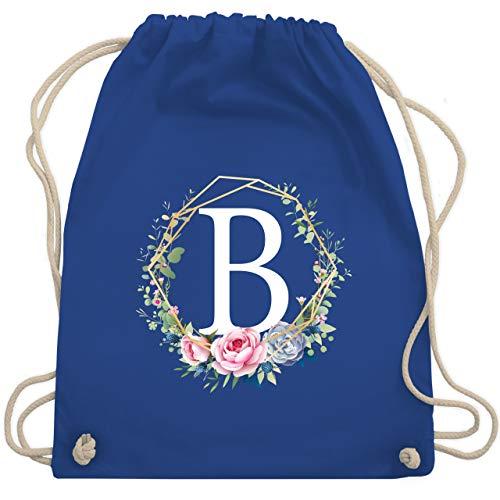 Anfangsbuchstaben - Blumenkranz Mit Buchstabe B - Unisize - Royalblau - WM110 - Turnbeutel & Gym Bag