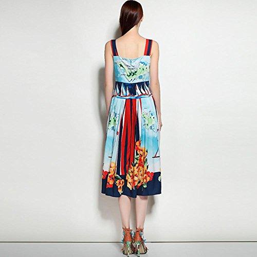 SHISHANG Robes Femmes 96% polyester de fibre + 4% Spandex manches d'été bleu blue