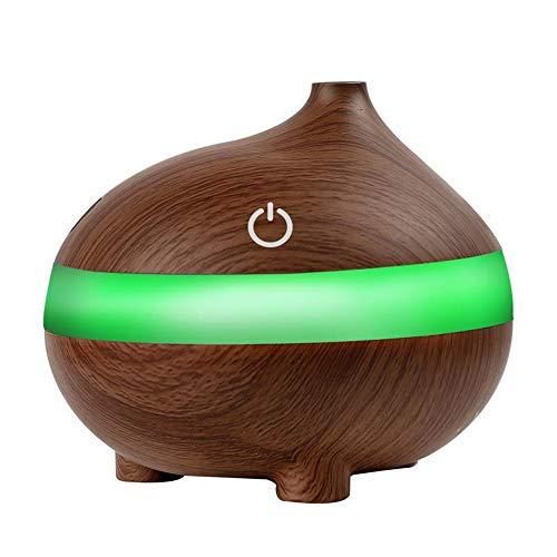 Luftbefeuchter 300ml Holz Korn Ätherisches Öl Diffusoren Ultraschall Luftbefeuchter Tragbare Aromatherapie-Diffusor Mit Kühlem Nebel Und 7 Farbe Ändern LED-Lichter Aroma Diffusor, Wasserlose Auto Off