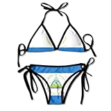 Nicaragua Flag National Women's Sexy Bikini Set Swimsuit Bathing Suit Halterneck Triangle Swimwear