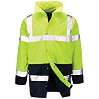 Raiken Hi Vis 2 Tone Visibility Jacket High Viz Work-Wear Yellow/Navy Coat Yellow