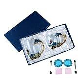 Kristall Glas Kaffeetasse Teetasse Handarbeit Transparent Verdicken Hitzebeständig Stieg Blume Wasser Tasse Set Weiblichen Hause Kreative Geschenk (Geschenkbox Doppel Tasse, blau)