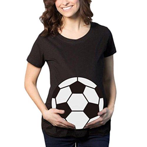 MCYs Fußball Print Schwangerschafts beiläufige Krankenpflege Bluse Mutterschaft T-Shirt Tops Mutterschaft Geschenk -Kurzarm (2XL, Schwarz)