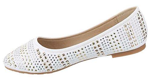 Rebites Branco Sapatos Strass Mocassins Chinelo Bailarinas Senhoras qO7pwWX