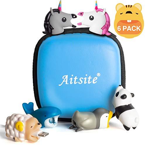 Aitsite Cable Bite Protector de Cable para iPhone Preciosa funda protectora Universal Electronics Accessories para teléfono (6-Paquete, Panda + Whale + Squirrel + Sheep + Unicorn_Pink & Black)