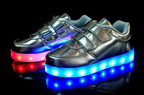 (Present:kleines Handtuch)JUNGLEST® Kinder Jungen Mädchen LED Schuhe Leuchtend Sneaker Farbwechsel Fluorescence Turnschuhe Sportsschu Silber