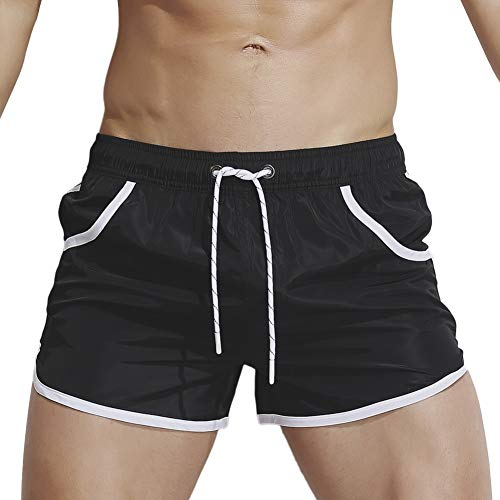 Our Peaches Neue Herren Shorts Schnell trocknende Badehose mit Pocket Fitness Shorts Fashion Beach Pants (Color : Black, Size : M) (Kordelzug Anpassbarer Taschen)