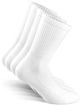 SNOCKS Damen & Herren Sportsocken - Hohe Tennis Socks (4er Pack) 35-50, Schwarz Weiß, Grau - Hohe Socken Baumwolle