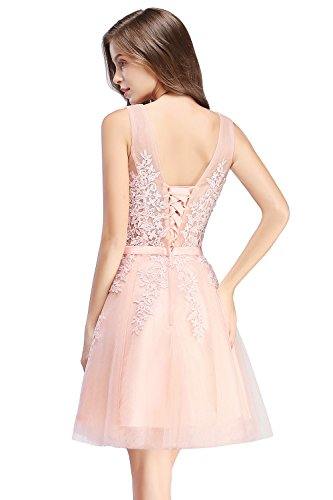 MisShow Robe de Cocktail Chic Mariage à Fleurs Dos Nu avec Appliques Florale Robe de Gala Vintage Mi Longue par Rose 36