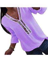 Kuncg Blusa Mujer Manga Larga con Lentejuelas Camisas Elegante Shirts Color Sólido Camisetas Cuello V Pullover Tops